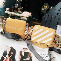 Off White Fashion New Letter Stripe Print Women Men High Quality Shopping Leisure Shoulder Bag Yellow