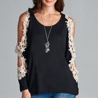Floral Lace Patch Top With Cutout Sleeve - Black