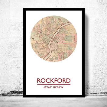 ROCKFORD - city poster - city map poster print