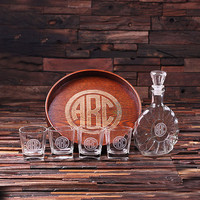 Personalized Bar Tray Set – Grand Tray Set with 4 Whiskey Glasses