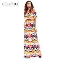 Summer Long Dresses Women Fashion Elegant Ruffle Off Shoulder Dress Woman Slash Neck Casual Maxi Dress Floor Length