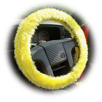 Sunshine yellow faux fur furry fluffy fuzzy car Steering wheel cover