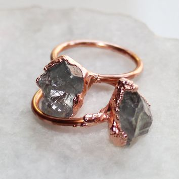 Aquamarine Raw Copper Ring