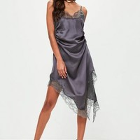 Missguided - Grey Silky Slip Dress