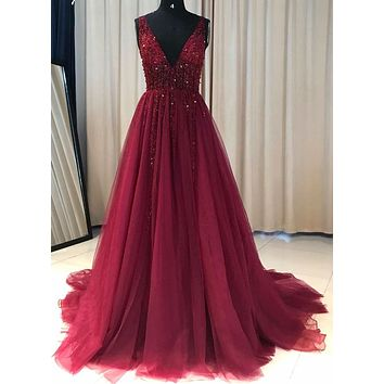 Burgundy Prom Dress For Teens Beaded Bodice, Evening Dress, Formal Dress, Ball Gown CD0110