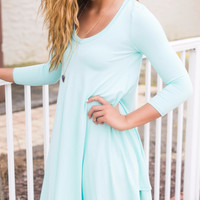 Follow Your Heart Mint V-Neck Long Sleeve Dress