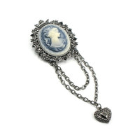 ON SALE Blue Girl - Gothic Lolita Brooch - Neo Victorian Cameo Brooch with Gunmetal Heart Charm and Chains - By Ghostlove