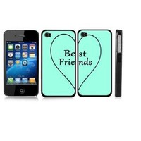 Friendship Best Friend Turquoise Heart BLACK Snap-On Hard Cover Carrying Case Set for iPhone 4/4S - Set of 2 Cases