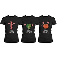 Cheerleading BLT Bacon, Lettuce and Tomato Trio Friends T-shirts - BFF Shirts