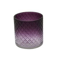 "4"" Cut Glass Candle Holder, Purple"