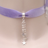New 'FALLING STARS' LILAC 16mm Velvet Ribbon Choker - sb... or choose another colour from a wide choice, hand made to fit :)