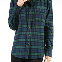 Detachable Hood Flannel Shirt - Green