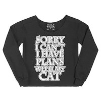 Cats Yes People No - Funny Cat Lover-Female Black Hoodie