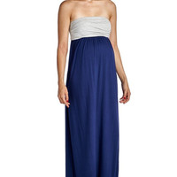Strapless Color Blocked Maxi