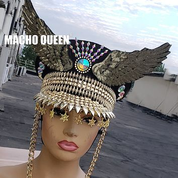 Drag Queen Costume DJ Gogo Dancer Hat Military Captains Summer Holographic Burning Man Festival Rave Clothes Outfits Wear (as photo One Size)