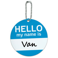 Van Hello My Name Is Round ID Card Luggage Tag