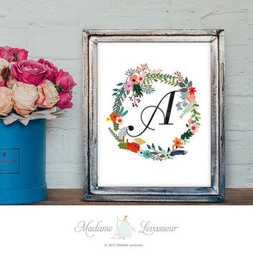 Printable Monogram Art Nursery Art Letter Print Flower Wreath Art Flower Calligraphy Initial Art Print Instant Download Alphabet art print