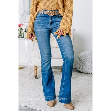 Getting Fired Up High Rise Flare Jeans