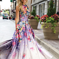 Printed floral ball gown 22753 - Prom Dresses