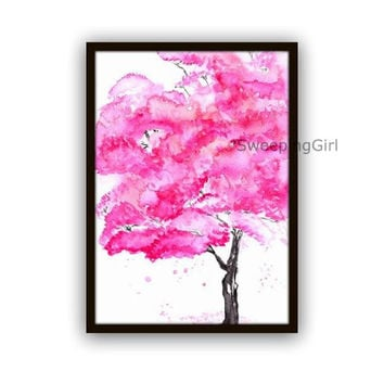 Pink Cherry blossom Sakura tree watercolor painting spring flowering tree nature abstract wall art botanical print poster decor  5x7 8x10