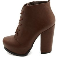 Chunky-Heeled Platform Lace-Up Booties by Charlotte Russe - Cognac