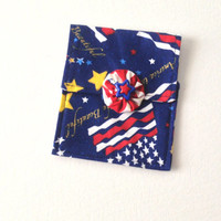Mini Purse or Cosmetic Bag, Hand Made, Patriotic Red White and Blue Flags and Stars