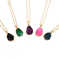 Colorful Druzy Quartz Natural Raw Stone Geode 18KT Gold Plated Pendant Necklace