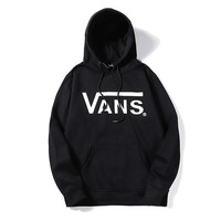 Vans selling casual hoodies for couples and trendy cotton print hoodies Black