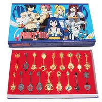 Hot Quality Fairy Tail Lucy Celestial Zodiac Spirit Gate Keys Set 18Pcs Keychain Free Shipping