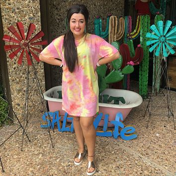 Yellow/Pink Soft Tie Dye T-Shirt Dress/Cover up