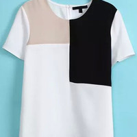 Color Block Short Sleeve T-shirt