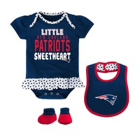 New England Patriots Little Sweetheart 3-Piece Bodysuit Set - Baby Girl, Size: