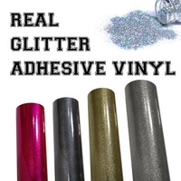 Permanent Adhesive Vinyl - Real Glitter Particle Film Sheets