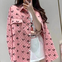 GUCCI Women's Pink Jacquard Full Indian Mickey Denim Jacket