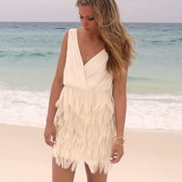Francis Frills Beige Feather Skirt Dress