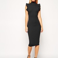 ASOS Midi Bodycon Dress with High Neck and Frill Sleeve at asos.com
