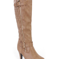 Khaki Stitched Knee High Heel Boots Faux Leather