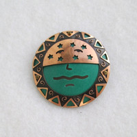 Tribal Copper Face Pin Layers Turquoise Enamel Vintage Jewelry
