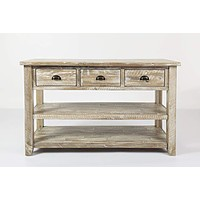 Wooden Sofa Table With Three Drawers And Two Open Shelves , Washed Gray
