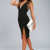 Aglow Black Bodycon Midi Dress
