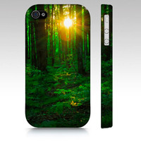 iPhone Case, iPhone 4/4S, iPhone 5, Samsung Galaxy S3, Sun Light in Forest, Sun Rays, Nature Photography, Green and Yellow, Summer