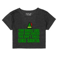 beef and cheese elf christmas crop-Female Heather Onyx T-Shirt