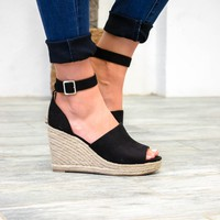 Black Suede Ankle Wedges