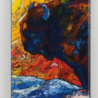 Bison Running print of OLena Art Wild the Storm Oil Painting With Palette Knife #society6 by OLenaArt @LenaOwens