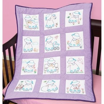 "Sunbonnet Sue Jack Dempsey Stamped White Nursery Quilt Blocks 9""x9"" 12/Pkg"