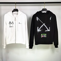 Off-White x Nike new men's and women's hooded zipper cardigan jacket