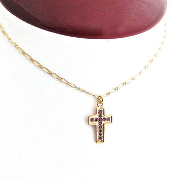 Small Gold Cross Necklace, First Communion Gift, Easter Gift, Purple Crystal, Gold Chain, Religious