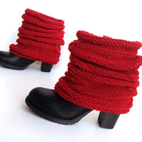 Red Boot Socks Cable Knit Boot Cuffs Leg Warmers Tall Socks Christmas Gift Ideas For Her For Women Boot Toppers Boot Socks senoAccessory