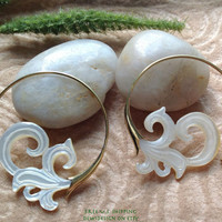 """Tribal Hanging Earrings, """"Baybreeze"""" Naturally Organic, Mother of Pearl, Brass Posts, Hand Carved"""