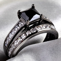 Bridal Sets 10KT Black Gold Filled Princess cut 1CT Black Sapphire Clear CZ Women's Wedding Ring 2 in 1 Band SZ 5-10 (With Thanksgiving&Christmas Gift Box)= 1929688900